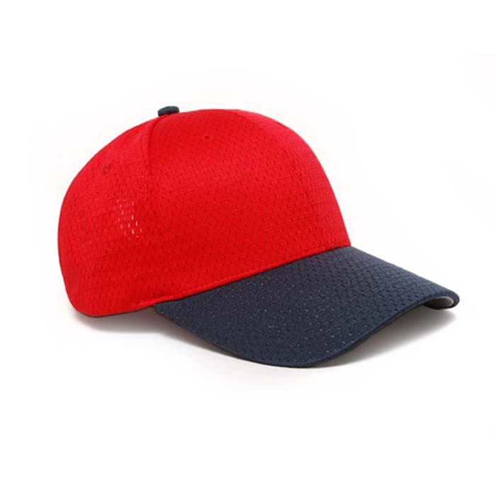 Moisture Management, Adjustable Baseball Cap in Red and Navy