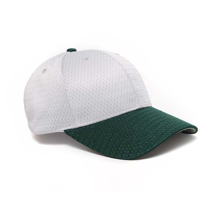 Moisture Management, Adjustable Baseball Cap in Silver and Dark Green