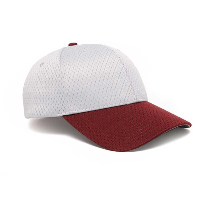 Moisture Management, Adjustable Baseball Cap in Silver and Maroon