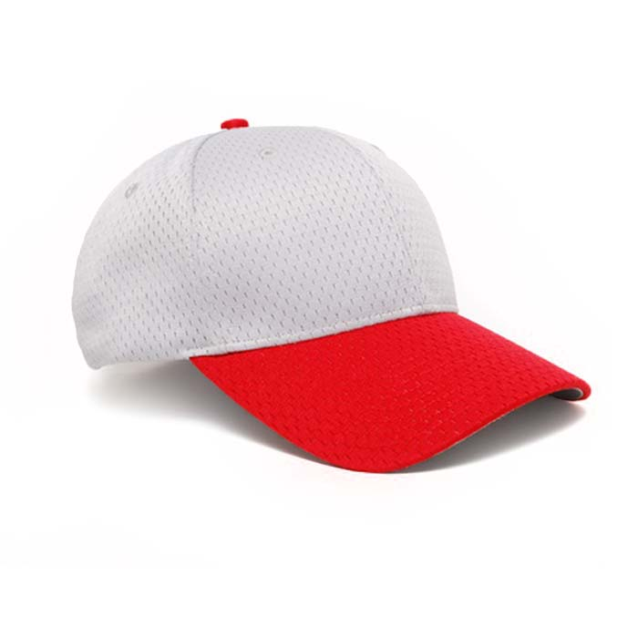 Moisture Management, Adjustable Baseball Cap in Silver and Red