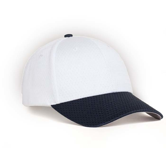 Moisture Management, Adjustable Baseball Cap in White and Navy