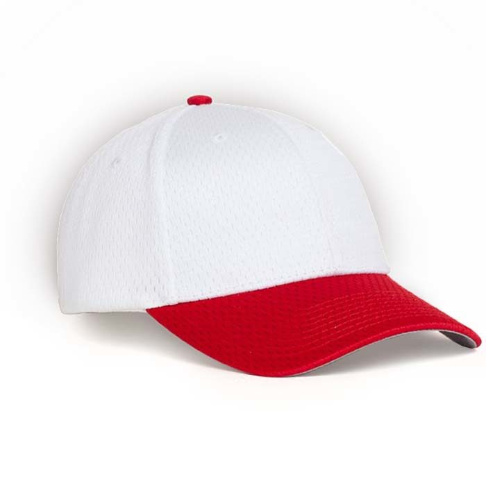 Moisture Management, Adjustable Baseball Cap in White and Red