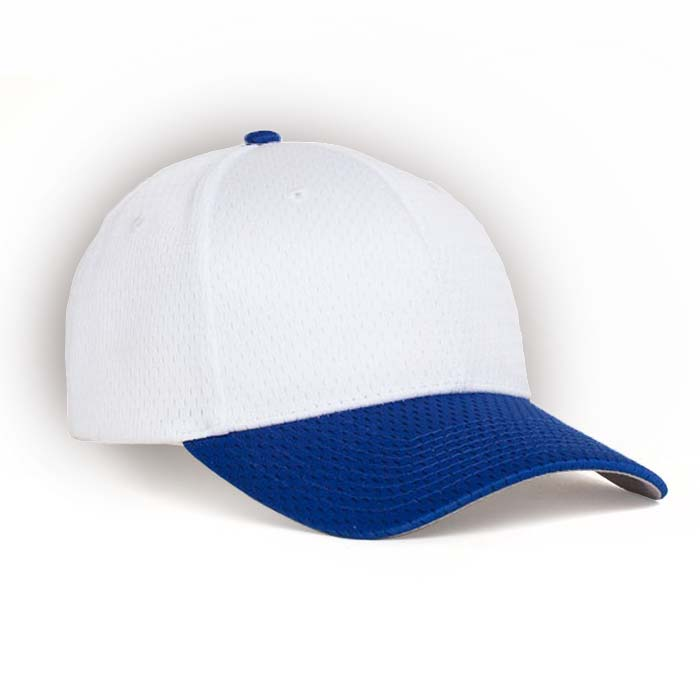 Moisture Management, Adjustable Baseball Cap in White and Royal