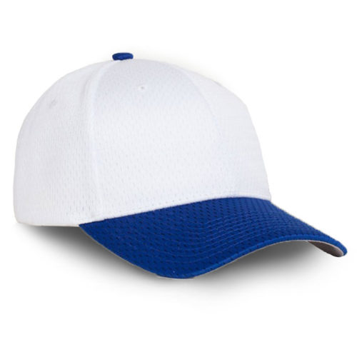 Perforated performance cap white royal blue