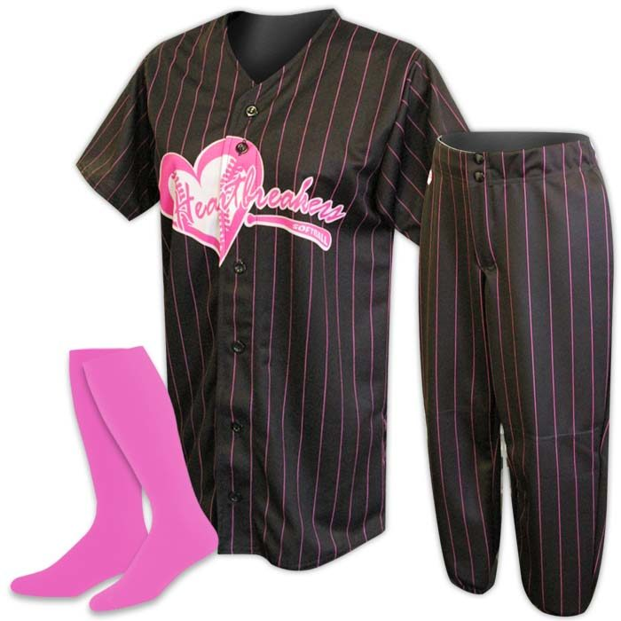 Custom Sublimated ProSphere Pinstripe Softball Uniform, designed in Black and Pink