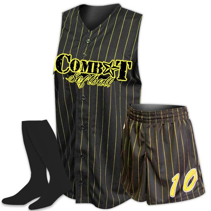 Custom Sublimated ProSphere Pinstripe Softball Uniform, designed in Black and Yellow