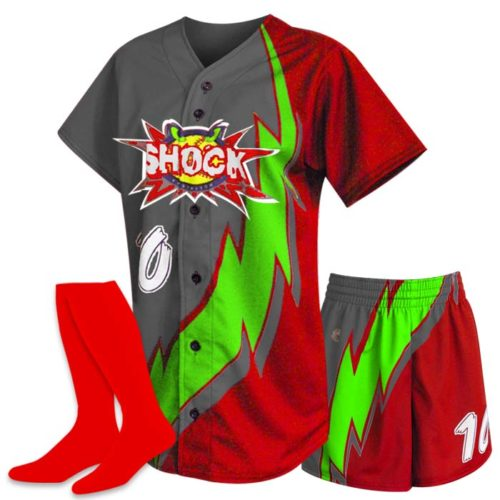 Custom Sublimated ProSphere Thunderbolt Softball Uniform, designed in Red, Dark Grey and Lime