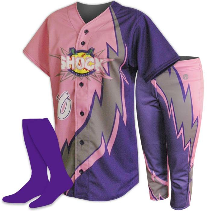 Custom Sublimated ProSphere Thunderbolt Softball Uniform, designed in Purple, Pink and Grey
