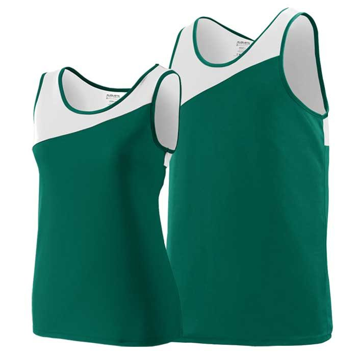 Forest Green and White Accelerate Track Uniform Singlet