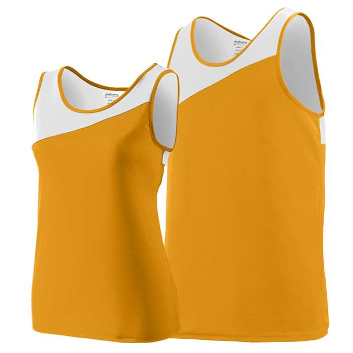 Gold and White Accelerate Track Uniform Singlet