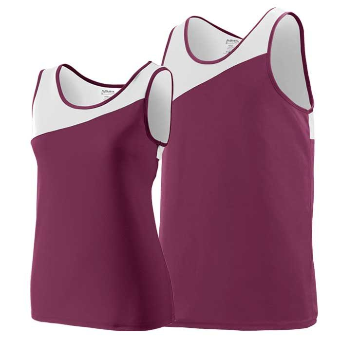 Maroon and White Accelerate Track Uniform Singlet