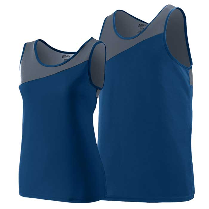Navy Blue and Graphite Accelerate Track Uniform Singlet