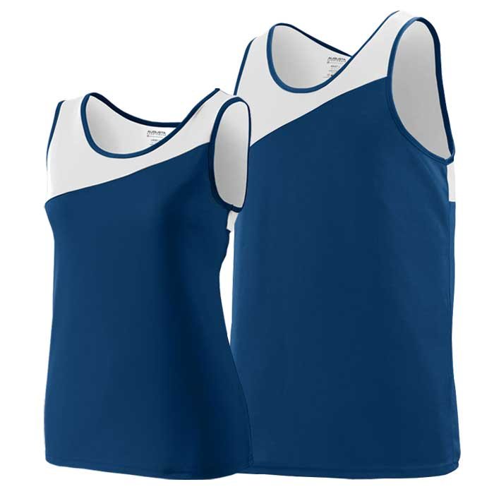 Navy Blue and White Accelerate Track Uniform Singlet