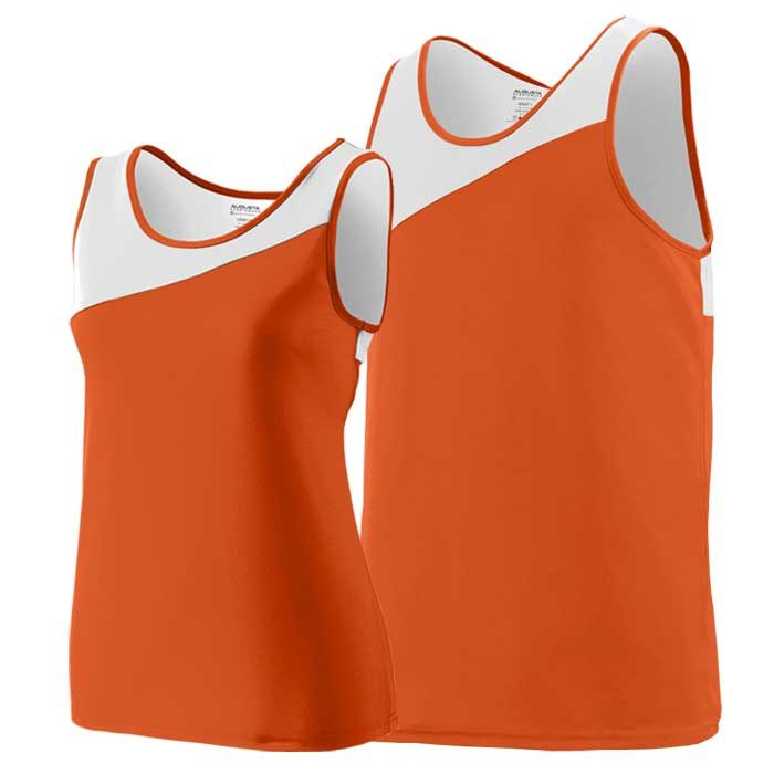 Orange and White Accelerate Track Uniform Singlet