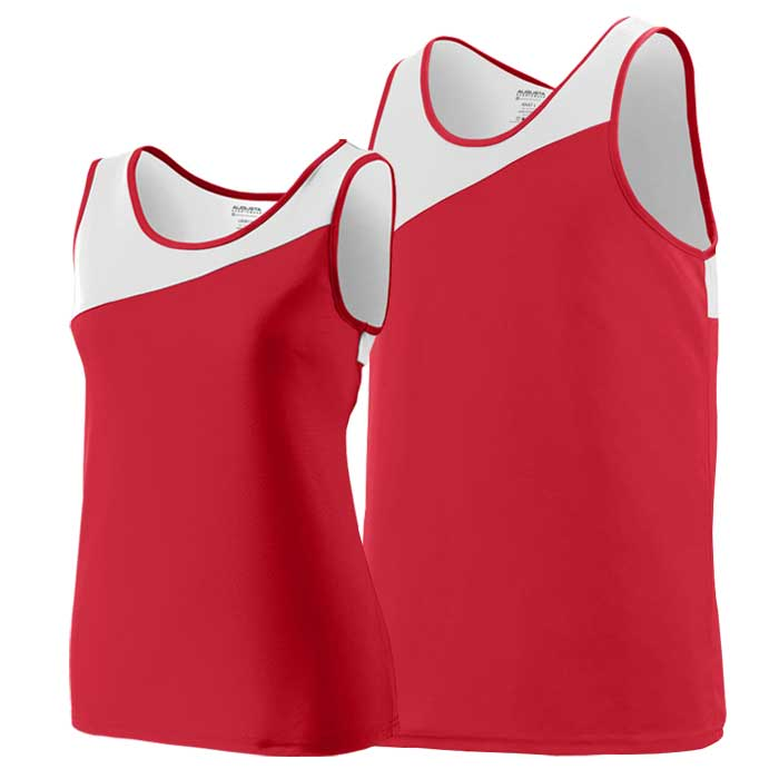 Red and White Accelerate Track Uniform Singlet