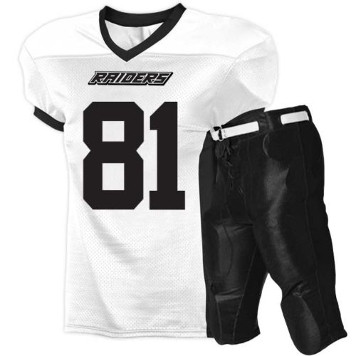 Alleson Elusive Football Uniform featuring a moisture management, colorfast Game Jersey and a pair Stretch Dazzle Pants with Duke Crotch