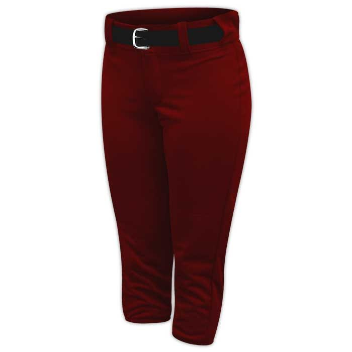 Alleson belted softball pants in Maroon