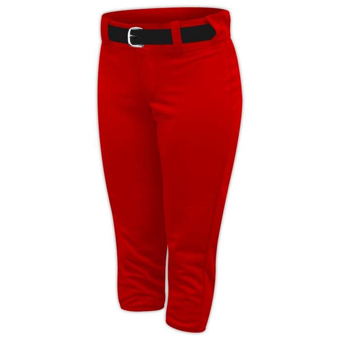 Alleson belted softball pants in Red