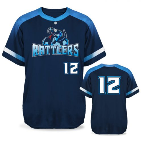 Sublimated Amped Blender Custom Baseball Jersey Short Sleeve 2-Button
