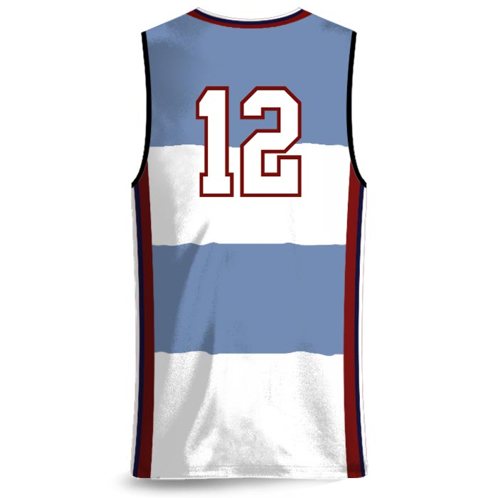 Custom Sublimated Amped Charity Stripe Basketball Uniform Jersey Back