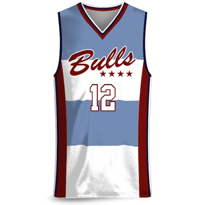 Custom Sublimated Amped Charity Stripe Basketball Uniform Jersey Front
