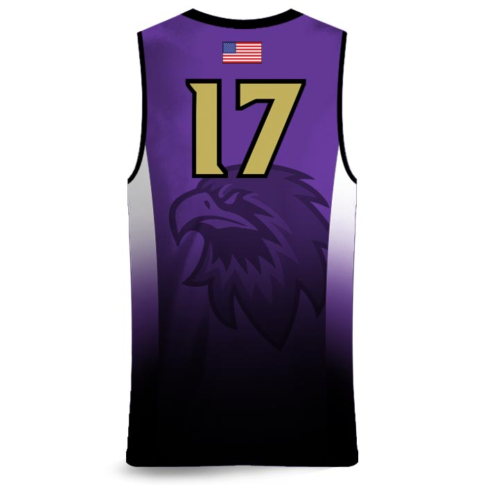 Custom Sublimated Amped Fadeaway J Basketball Uniform Jersey Back