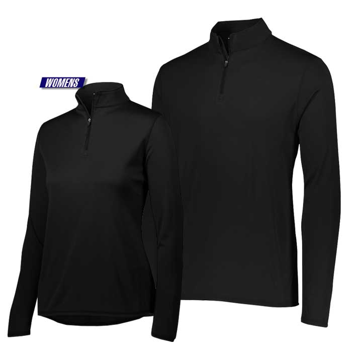 attain quarter zip pullover performance top in black