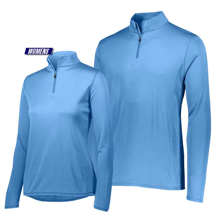 attain quarter zip pullover performance top in light blue