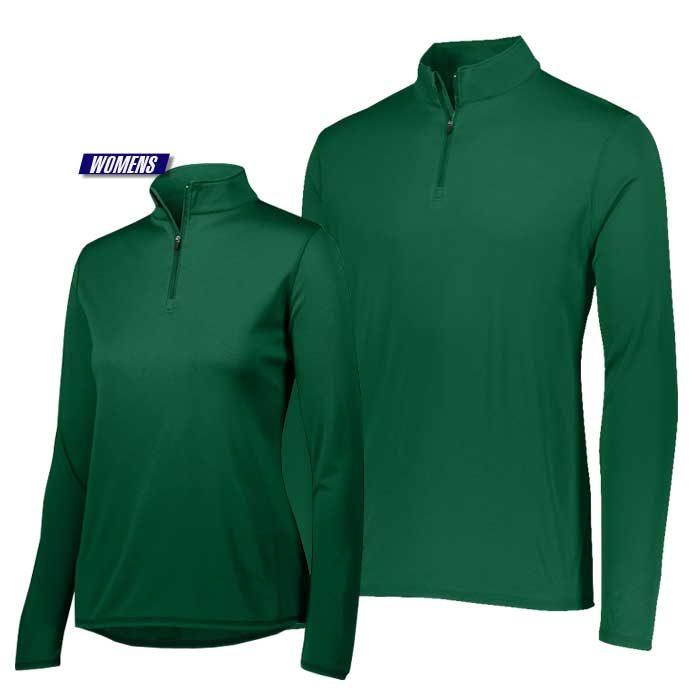 attain quarter zip pullover performance top in dark green