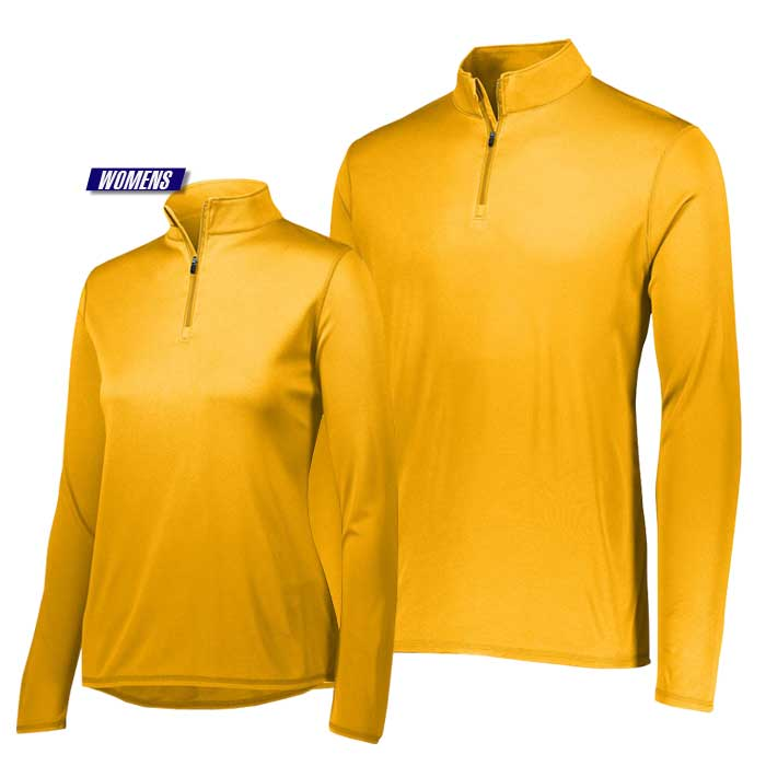attain quarter zip pullover performance top in yellow gold