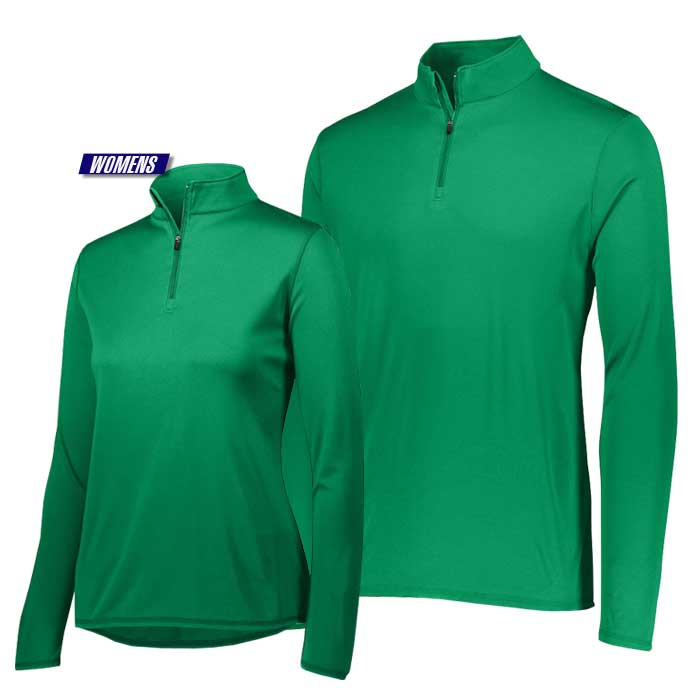 attain quarter zip pullover performance top in kelly green
