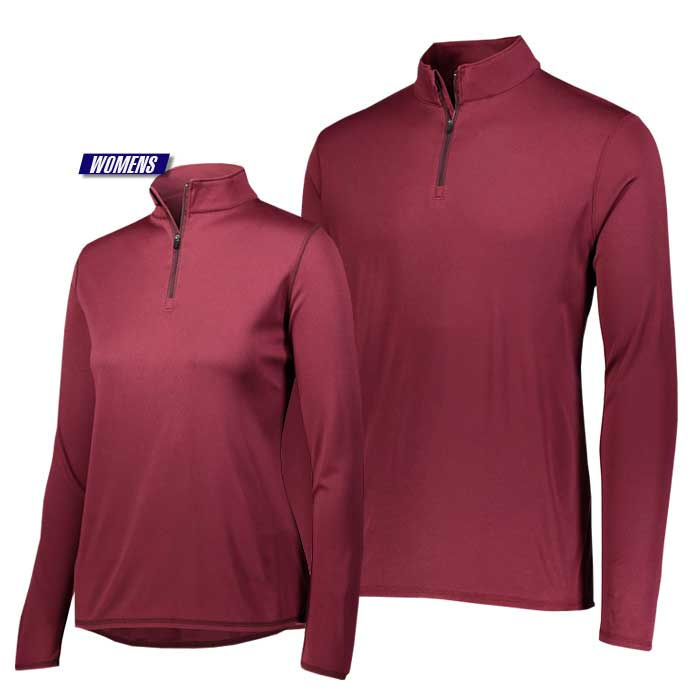 attain quarter zip pullover performance top in maroon