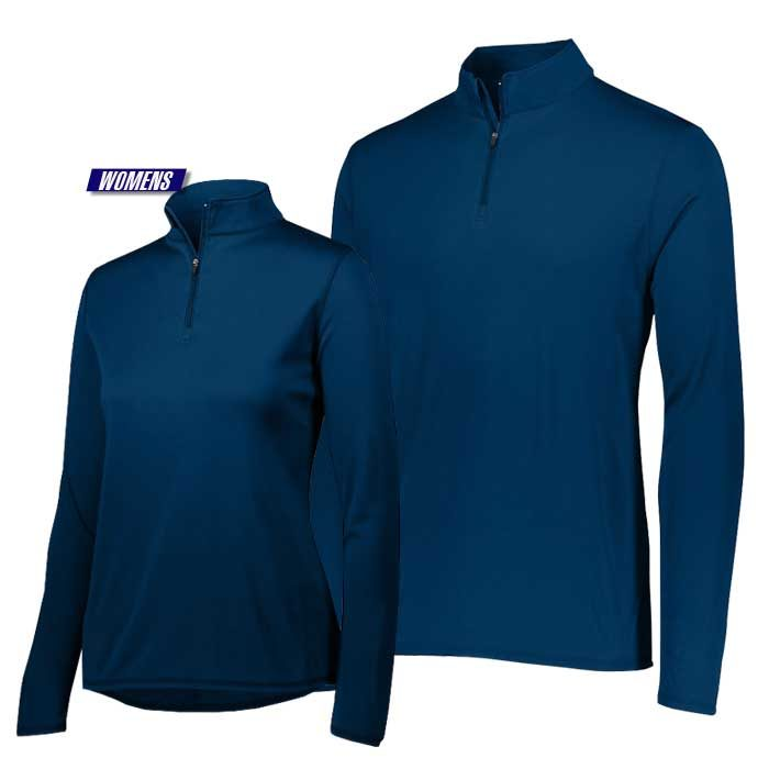 attain quarter zip pullover performance top in navy blue