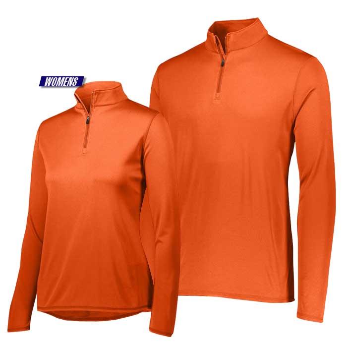 attain quarter zip pullover performance top in orange
