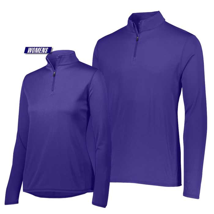 attain quarter zip pullover performance top in purple