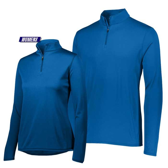 attain quarter zip pullover performance top in royal blue