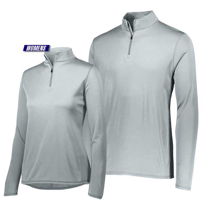 attain quarter zip pullover performance top in silver grey