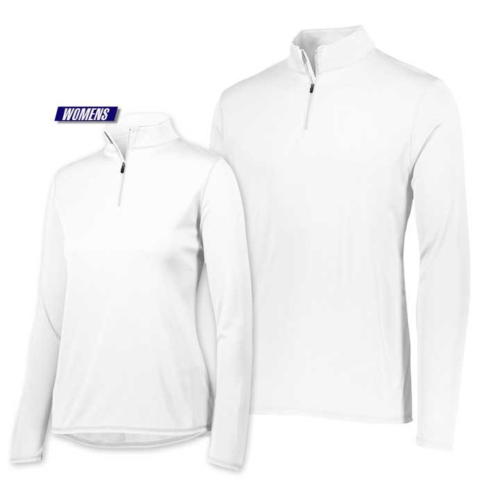 attain quarter zip pullover performance top in white
