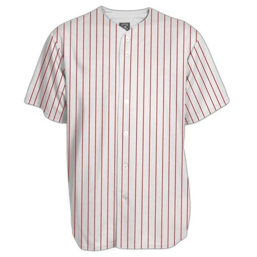 Full button baseball uniform top in white with red pin stripe