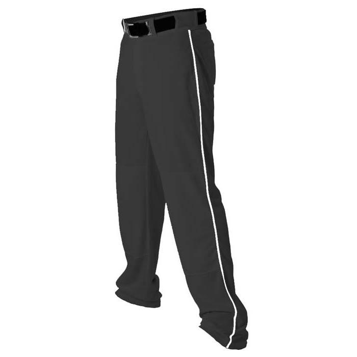 Alleson brand piped open-bottom Baseball Pants in Black/White
