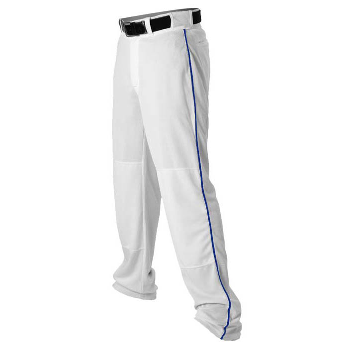 Alleson brand piped open-bottom Baseball Pants in White/Royal