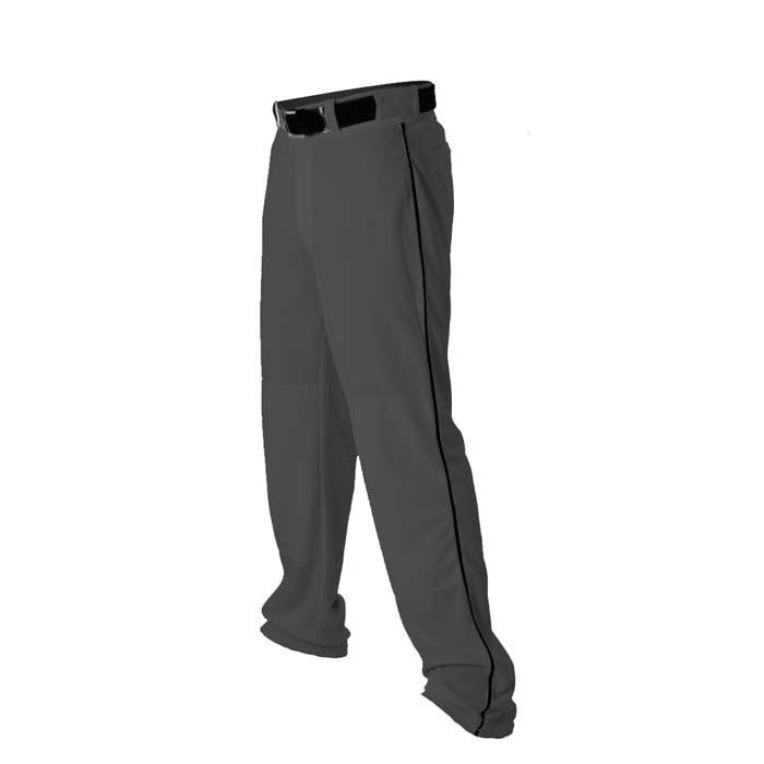 Alleson 14oz baseball pant with piping trim charcoal black