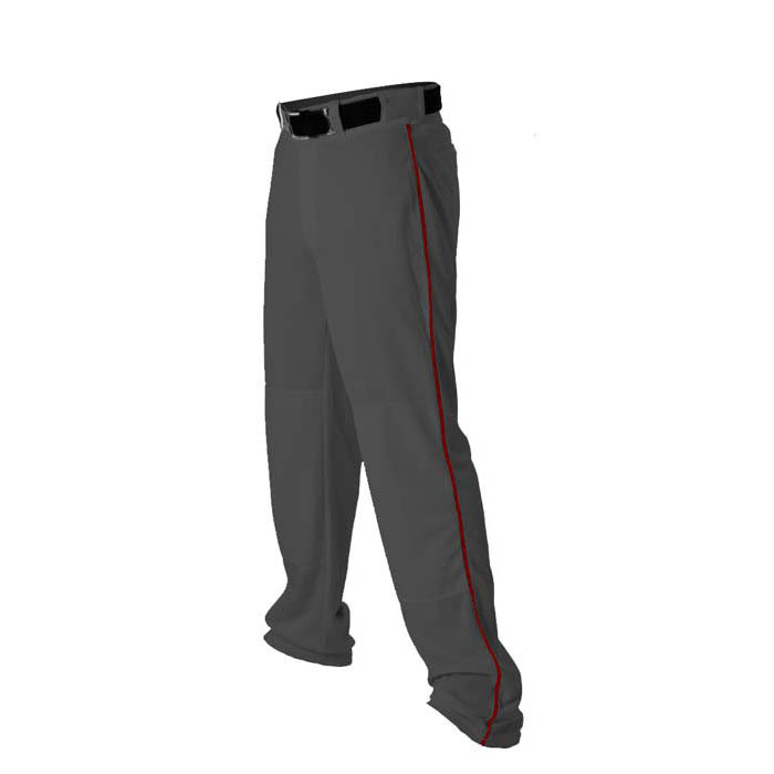 Alleson 14oz baseball pant with piping trim charcoal red