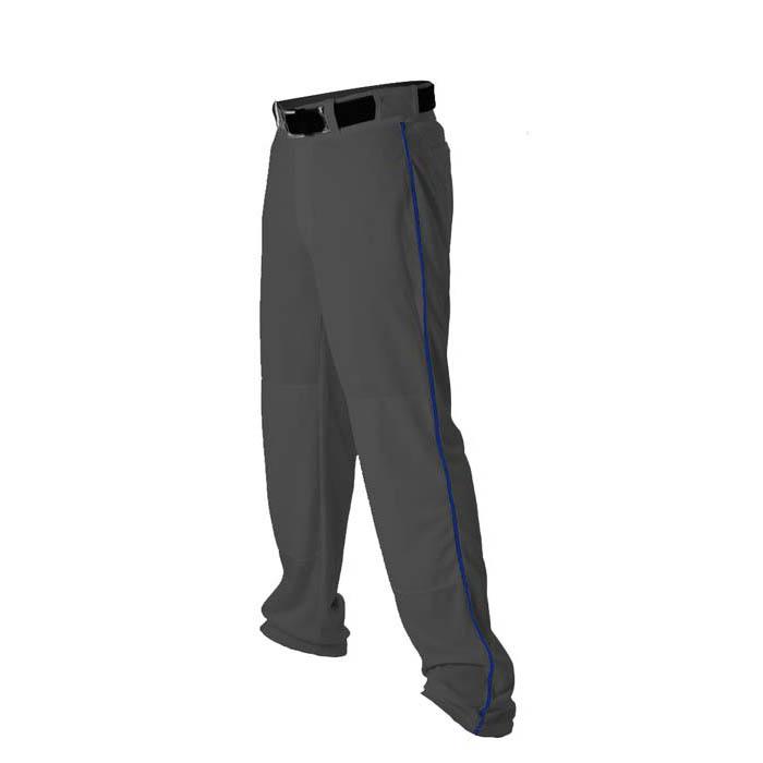 Alleson 14oz baseball pant with piping trim charcoal royal