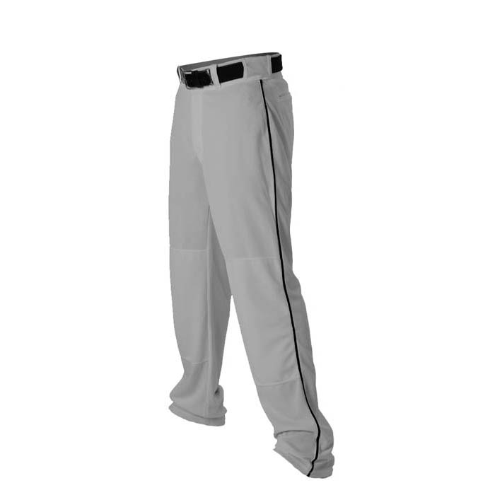 Alleson 14oz baseball pant with piping trim grey black