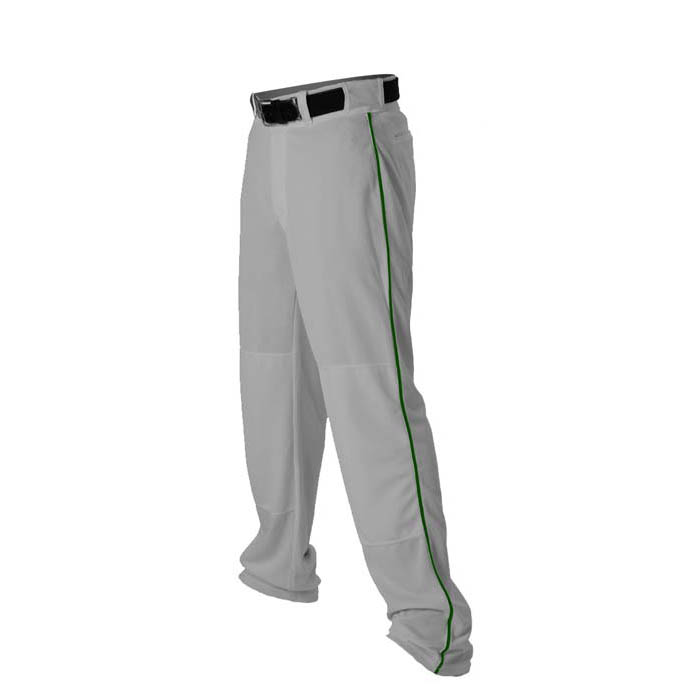 Alleson 14oz baseball pant with piping trim grey forest green