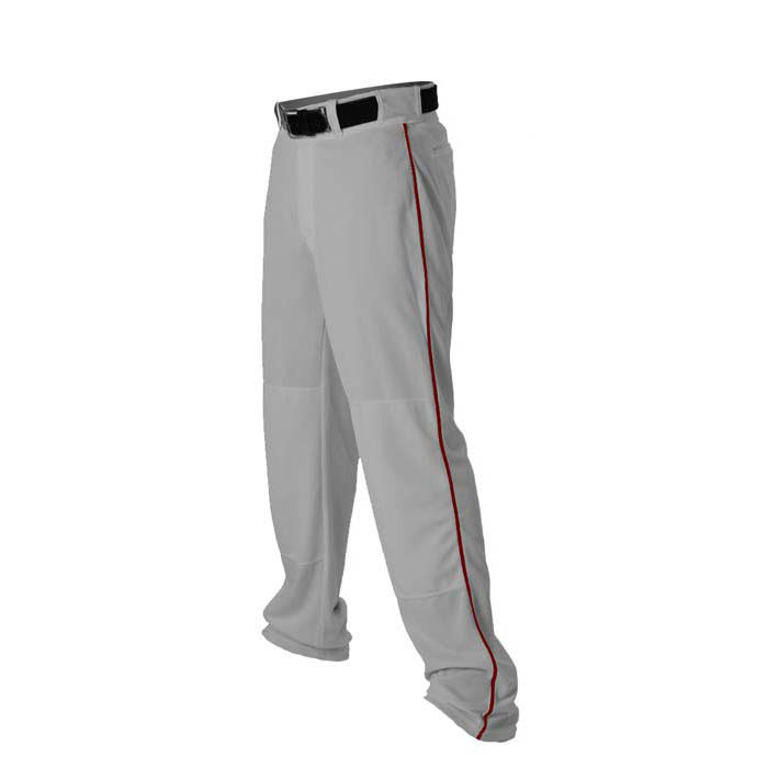 Alleson 14oz baseball pant with piping trim grey maroon