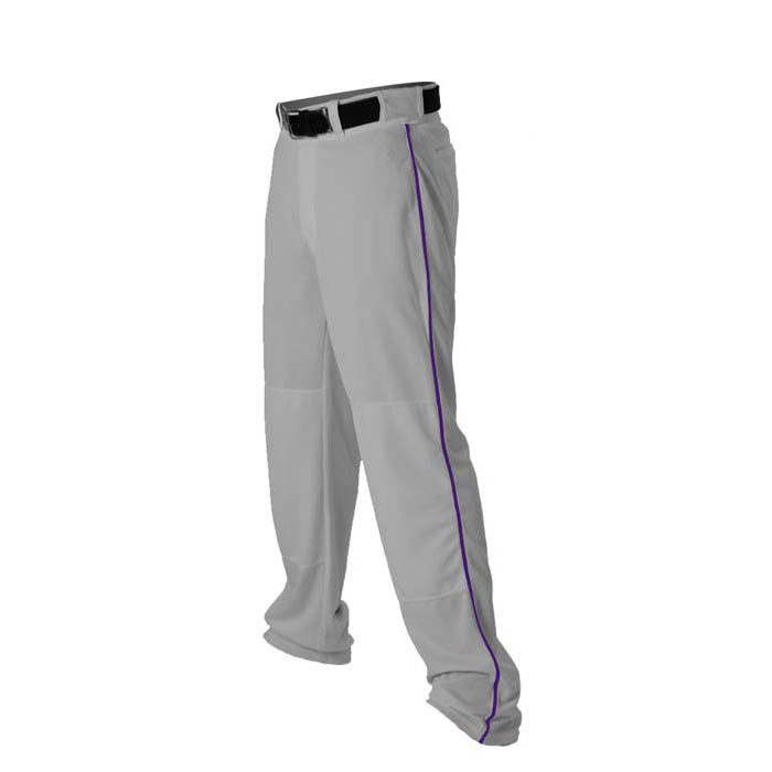 Alleson 14oz baseball pant with piping trim grey purple