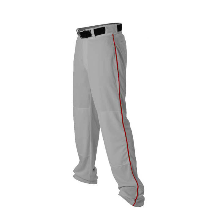 Alleson 14oz baseball pant with piping trim grey red
