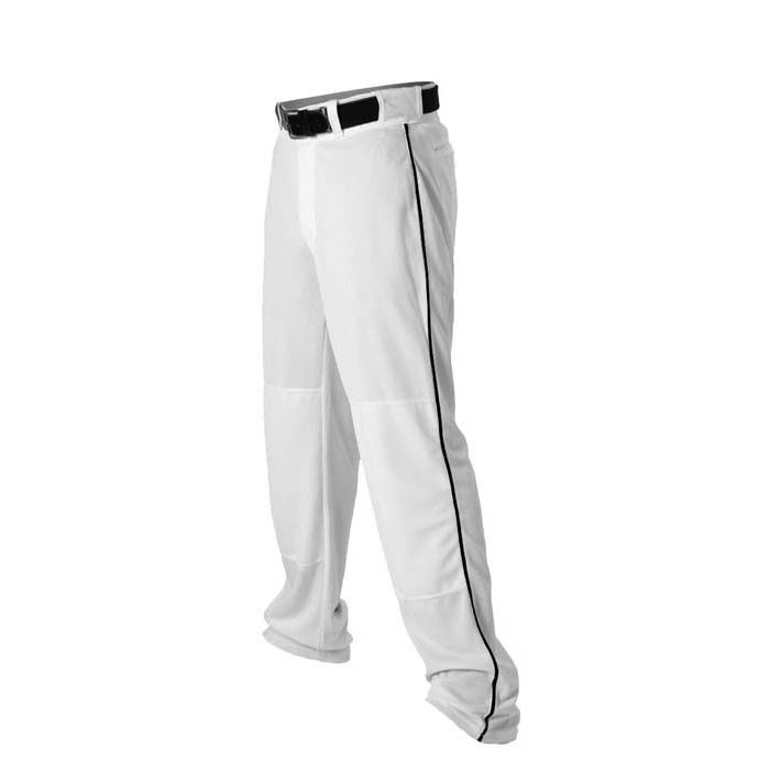 Alleson 14oz baseball pant with piping trim white black